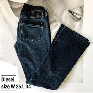 Diesel flared jeans; size W 25 L 34